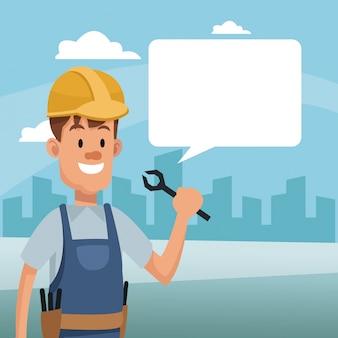 Outil de tenue homme de construction et discours de la bulle de la main-d'œuvre