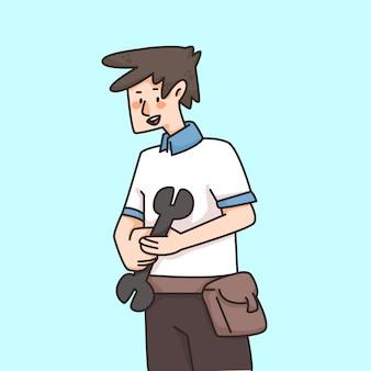 Outil de tenue de mécanicien, illustration de dessin animé mignon
