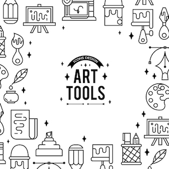 Outils d'art et matériaux pour la peinture.