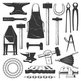 Outils d'atelier de ferronnerie de forgeron