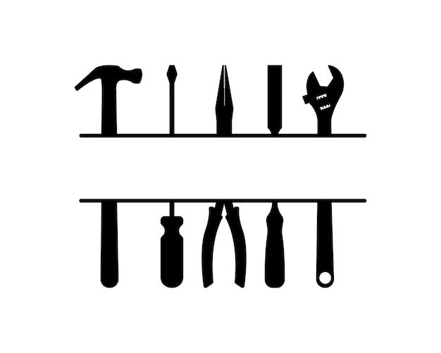 Les outils de bricoleur ont divisé le monogramme avec une place vide pour le texte signez pour une entreprise de services à domicile