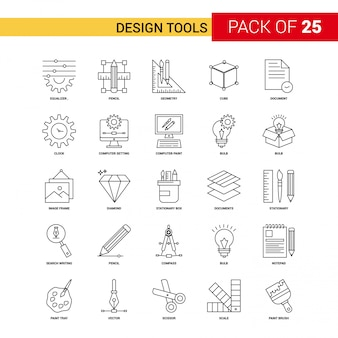 Outils de conception black line icon - 25 business outline icon set