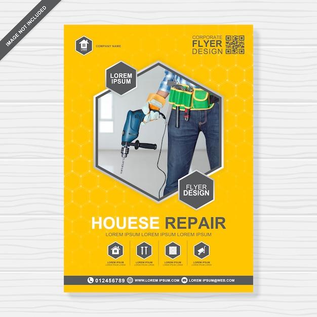 Les outils de construction couvrent le modèle de conception de flyer a4