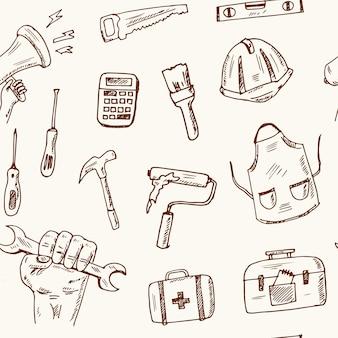 Outils de construction dessinés à la main