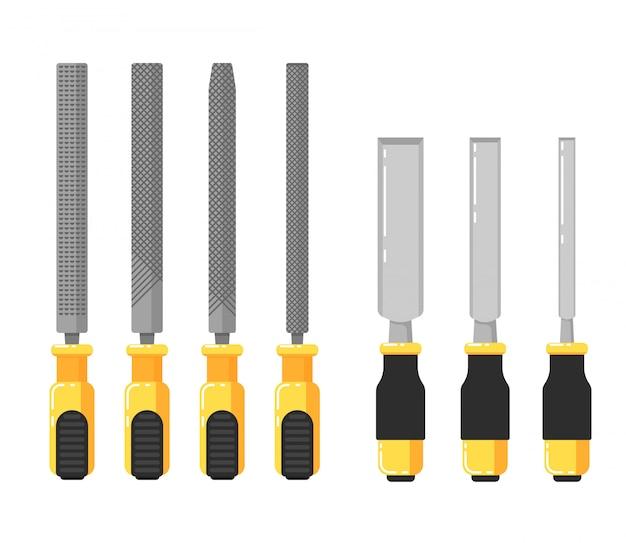 Outils de construction isolés sur blanc