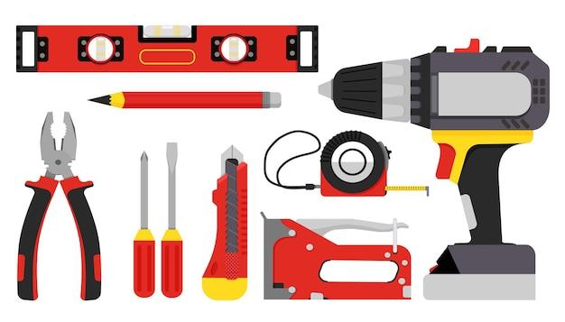 Outils de construction réparation d'outils à main tournevis meubles agrafeuse clé pinces ruban à mesurer