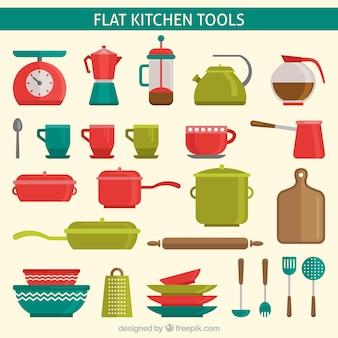 Outils de cuisine plats colorés