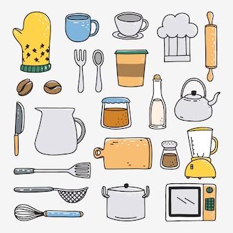 Outils de cuisson dessinés à la main