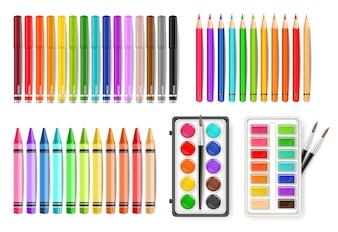 Outils de palette aquarelle colorée