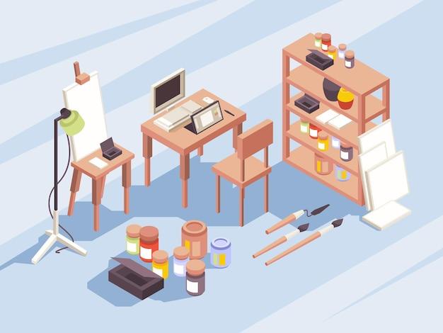 Outils de dessin de concepteurs. articles stationnaires pour les peintres, appareils photo, brosses pour ordinateur portable, symboles isométriques pour l'éducation et le travail vectoriel. dessin d'illustration et photo d'intérieur