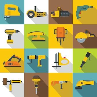 Outils électriques icônes définies, style plat
