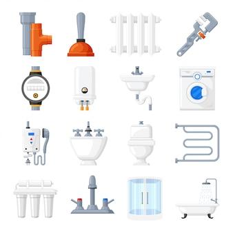 Outils et équipement de plomberie vector icons