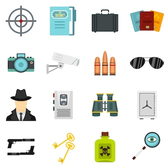 Outils d'espionnage mis icônes plats