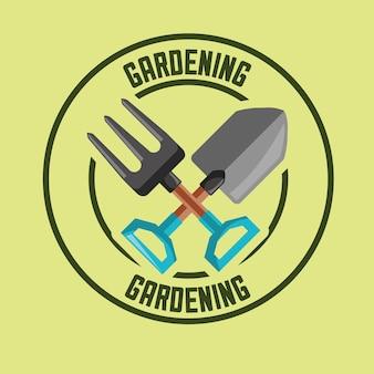 Outils de fourchette et de pelle étiquette image de jardinage