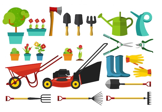 Outils de jardin et articles de différentes tailles