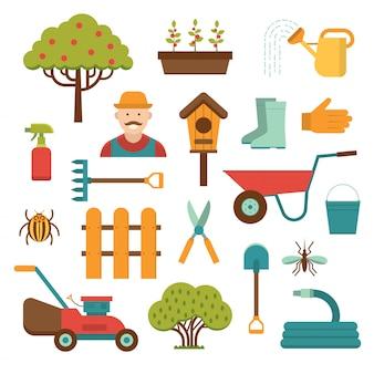 Outils de jardinage éléments vectoriels isolés