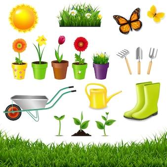 Outils de jardinage isolés