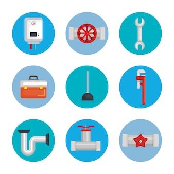 Outils de ligne de plomberie définir des icônes
