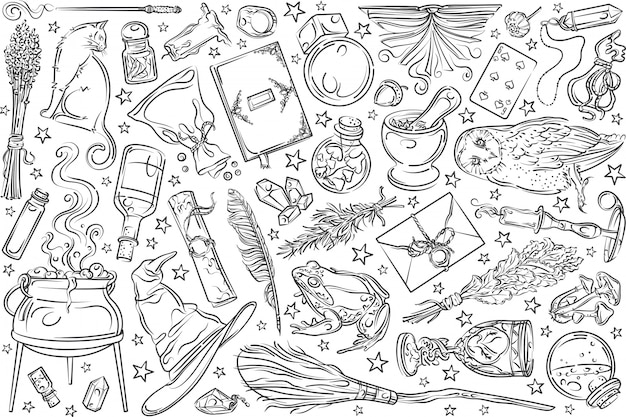 Outils magiques dessinés à la main.