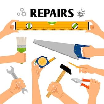 Outils à main dans les mains pour la construction de rénovation isolée