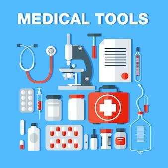 Outils médicaux icons set. produits de santé