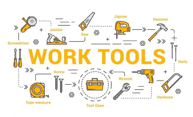 Outils de menuiserie et de menuiserie, boîte à outils de bricolage