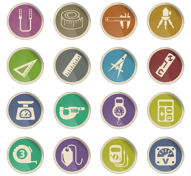 Outils de mesure des icônes web sous forme d'étiquettes en papier rondes