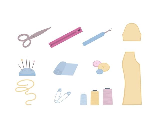 Outils sur mesure et modèles de vêtements mis en illustration de dessin animé isolé