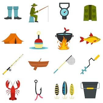 Outils de pêche mis icônes plats