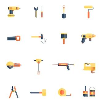 Outils de réparation à domicile icon flat