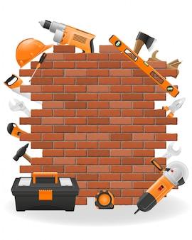 Outils de réparation sur le mur avec illustration vectorielle fond