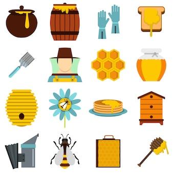 Outils de rucher mis icônes plats
