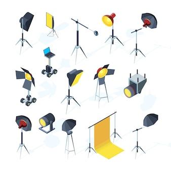 Outils de studio photo. matériel de production vidéo ou tv clignotant et directionnel parapluie léger softbox outils studio photo