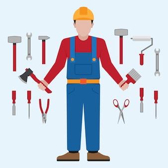 Outils de tenue de bricoleur et collection d'outils