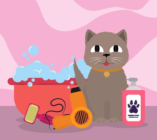 Outils de toilettage de chat mignon