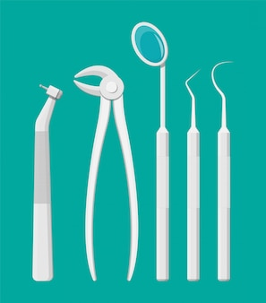 Outils de travail du dentiste. ensemble d'équipement de soins dentaires
