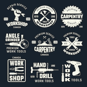 Outils de travail emblèmes monochromes