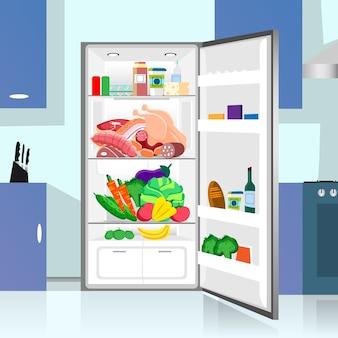 Ouvert réfrigérateur alimentaire cuisine maison intérieur