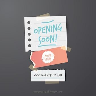 Ouverture bientôt fond avec panneau en papier
