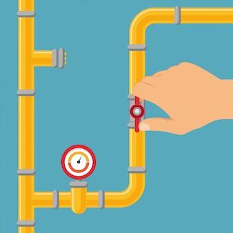 Ouverture ou fermeture d'un système d'alimentation en eau, gazoduc.