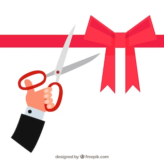 Ouverture de fond avec des ciseaux coupant un ruban avec un ruban