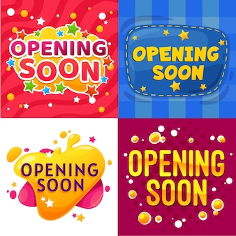 Ouverture prochaine des bannières de dessins animés. annonce d'ouverture d'un magasin ou d'une boutique pour enfants, affiches vectorielles amusantes, événement ou lancement de site web, autocollants comiques de promotion avec des étoiles, des bulles colorées et des points de couture