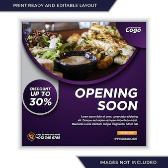 Ouverture prochaine du menu alimentaire pour le modèle de bannière de publication sur les médias sociaux instagram