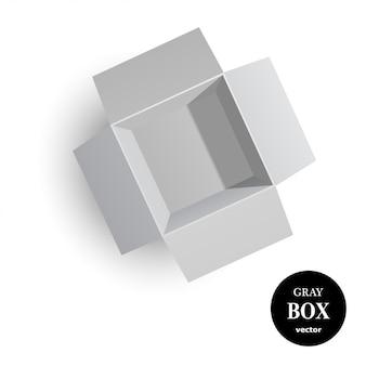 Ouvre la boîte en carton grise isolée sur fond blanc.