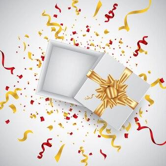 Ouvrez la boîte cadeau réaliste 3d avec ruban rouge et confettis. illustration vectorielle.