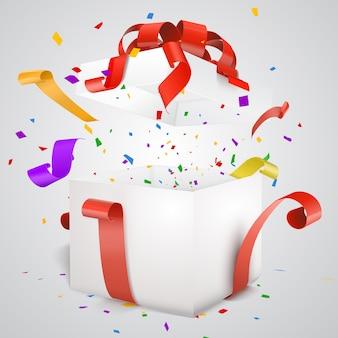 Ouvrez la boîte-cadeau rouge avec des confettis et des banderoles