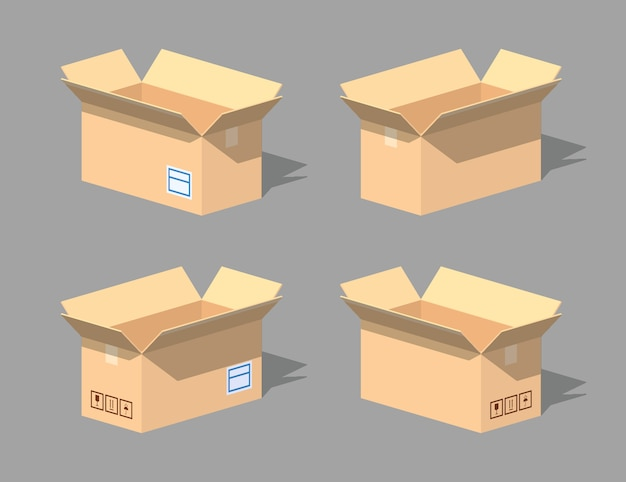 Ouvrez la boîte en carton vide. illustration vectorielle isométrique lowpoly 3d.