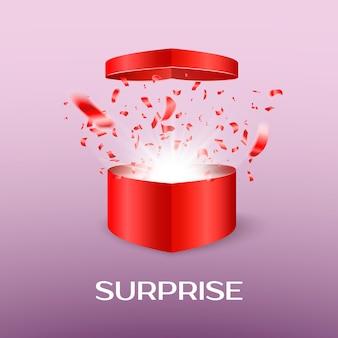 Ouvrez la boîte surprise le jour de la saint-valentin. coffret cadeau en forme de coeur ouvert avec un vol de confettis et flash