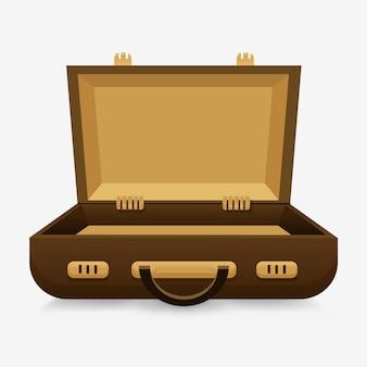Ouvrez le boîtier vide. le concept d'une valise encore vide,