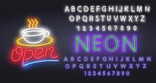 Ouvrez l'enseigne au néon avec réflexion. ouvrez l'illustration de texte néon. modification des enseignes au néon de texte